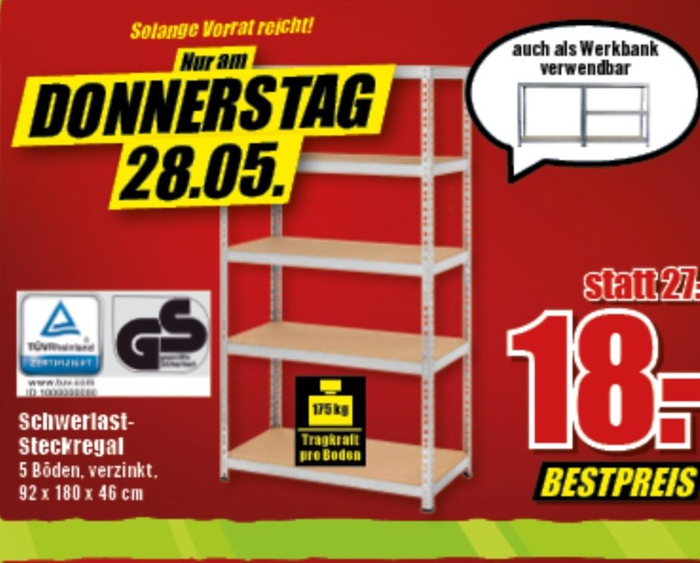 Schwerlastregal / Umbau Werkbank 180 x 92 x 46 cm , 175kg Tragkraft je Boden für 18 Euro [nur am Donnerstag im B1 Discount]