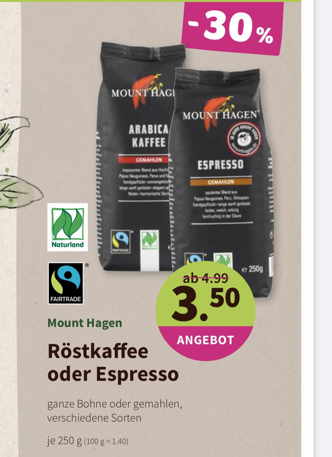 DENNS Biomarkt: Mount Hagen Bio Röstkaffee oder Espresso