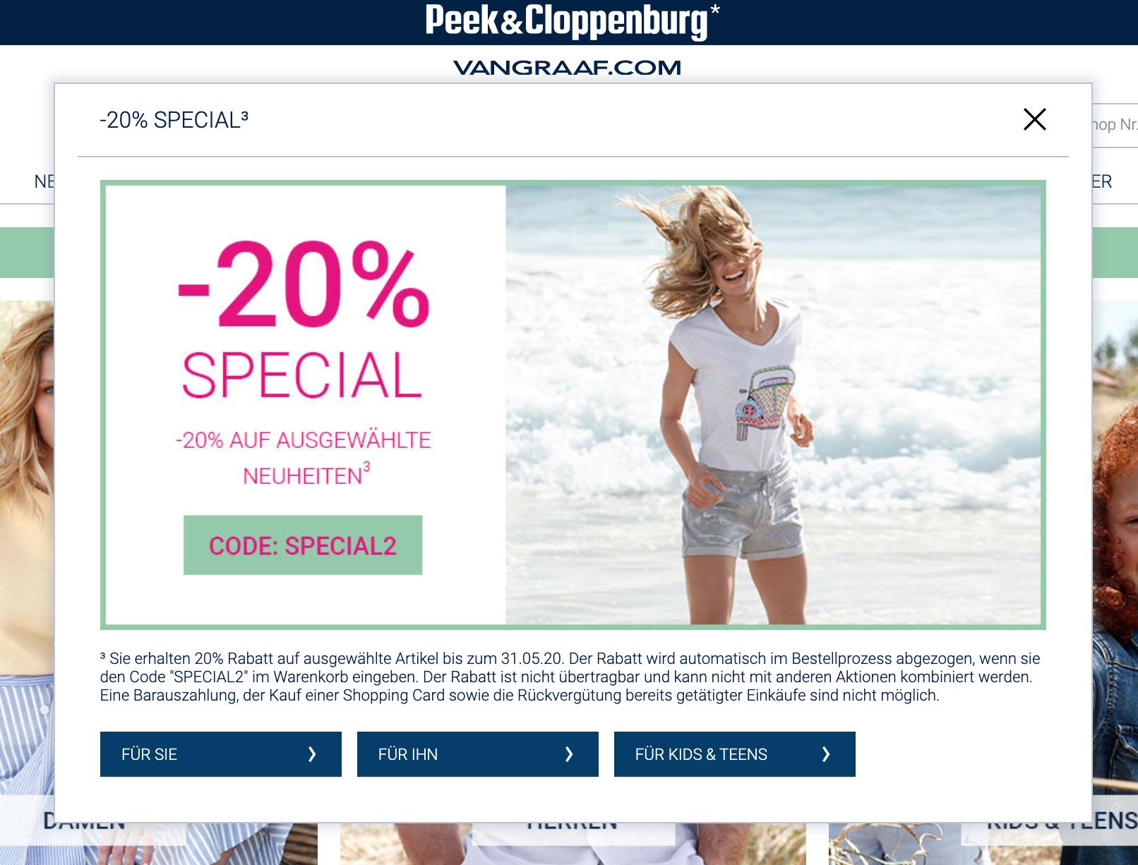 20% auf Neuheiten bei Peek und Cloppenburg Hamburg: Damen-, Herren- und Kinder-Kleidung