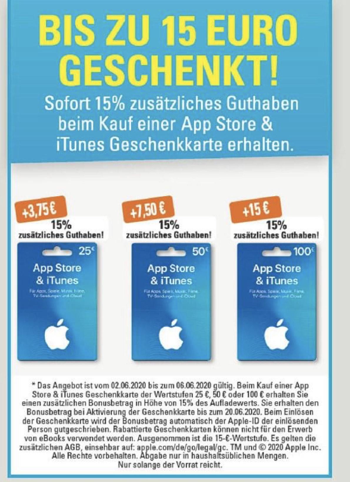 [Edeka   Marktkauf   Budni] 15% zusätzliches Guthaben auf Apple iTunes und App Store