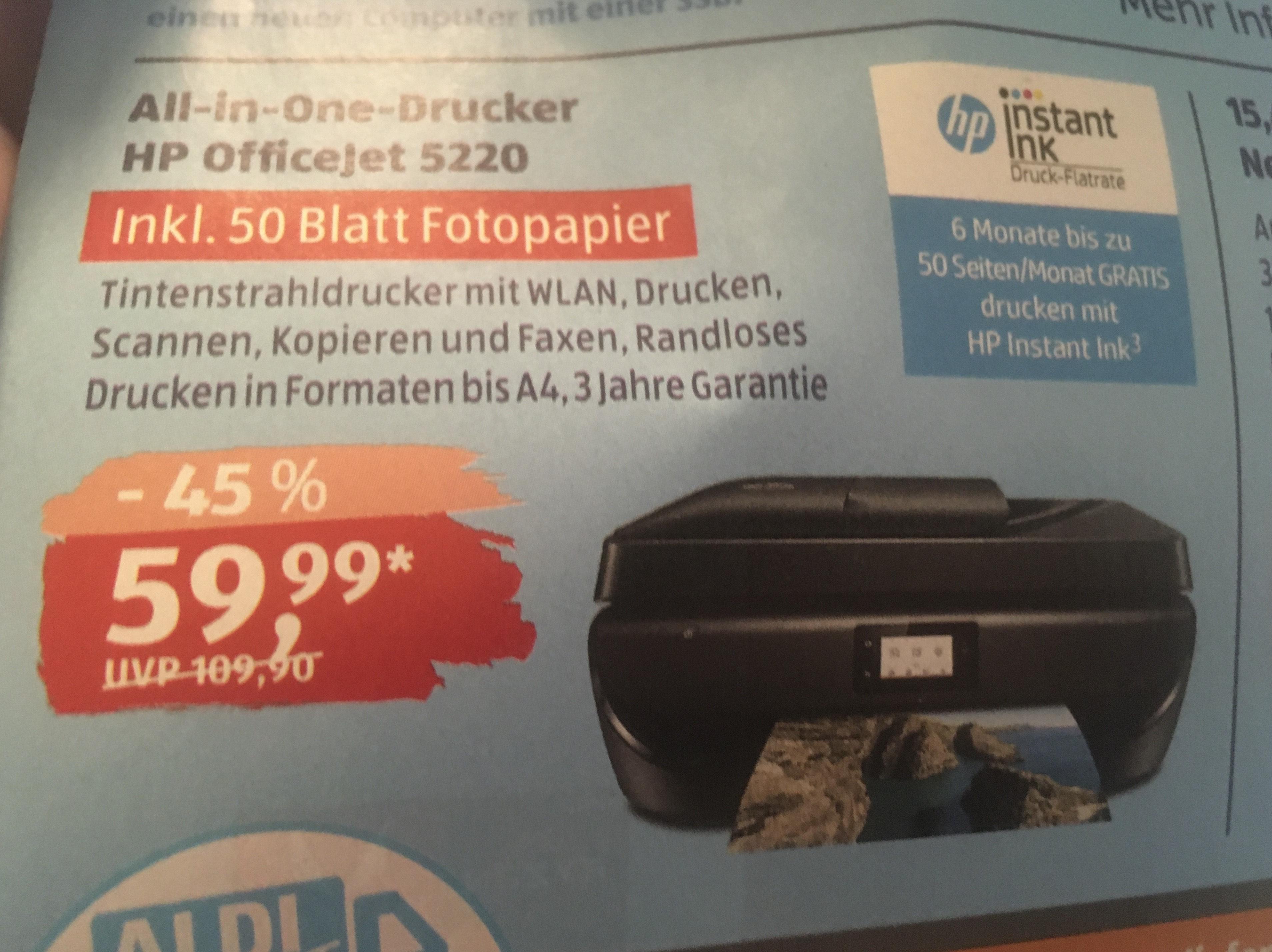 [Aldi Online ab 28.05] u.a. Drucker OfficeJet 5220 Multifunktionsgerät mit WLAN