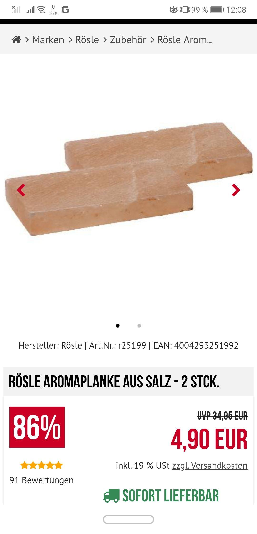 Rösle Aromaplanke aus Salz - 2 Stck.
