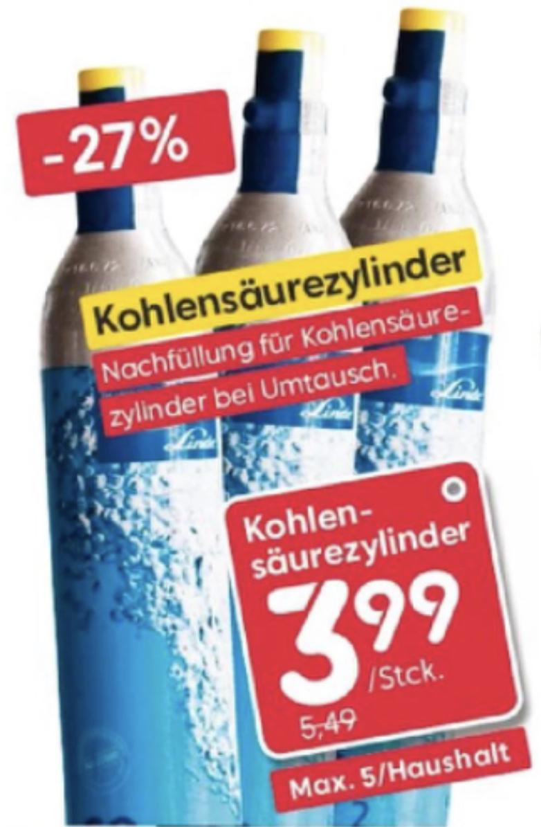 [Lokal Lübeck, Neumünster] Co2 Tauschzylinder Füllung Wassersprudler für 3,99€ - max. 5 pro Haushalt