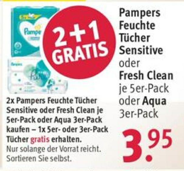 [Rossmann ab 25.05] 2+1 Aktion Pampers Feuchttücher / Fresh Clean 5er Pack / Sensitive 5er Pack / Aqua 3er Pack / 7,11€ mit 10% Gutschein