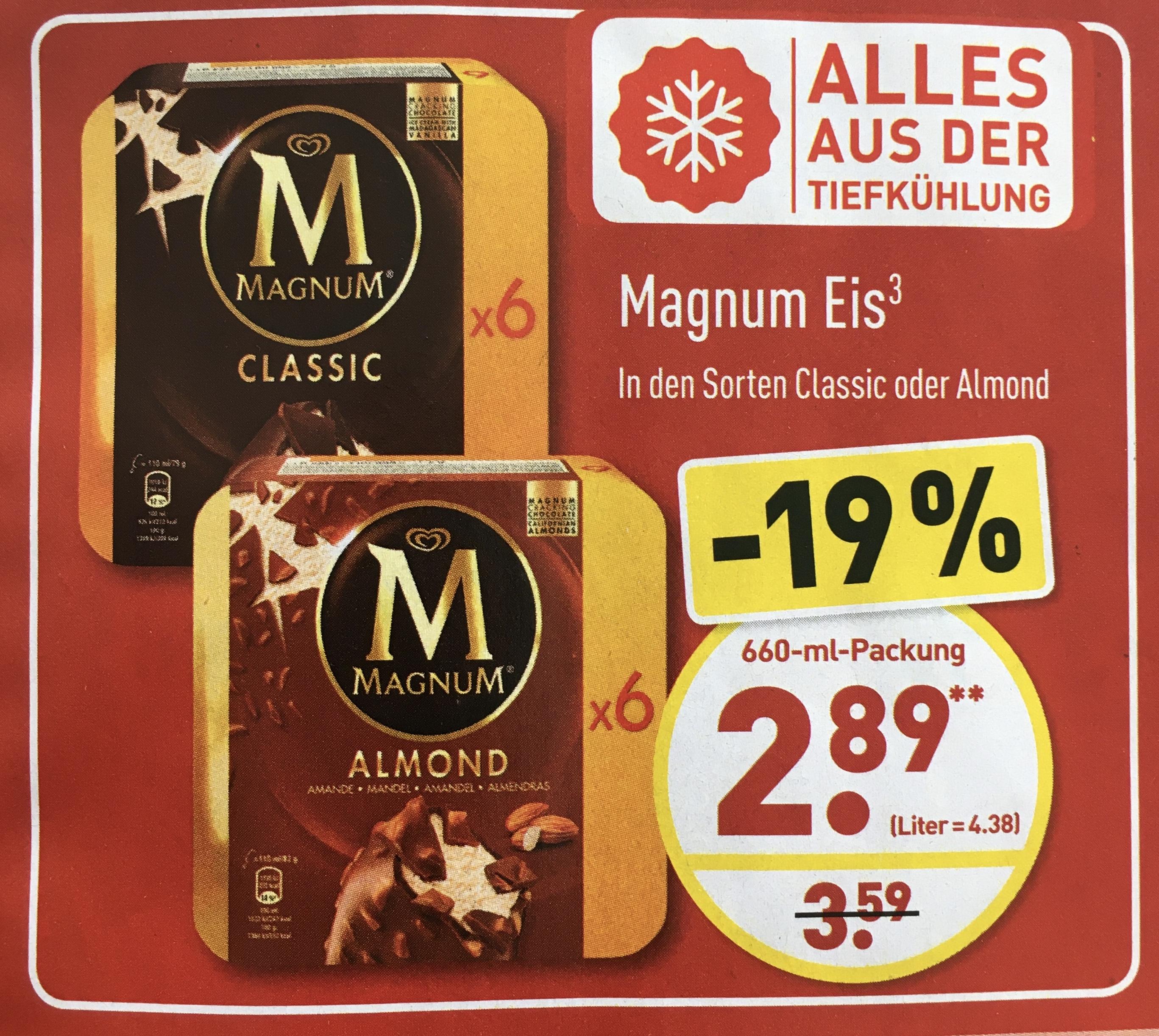 MAGNUM® 6er-Pack Classic oder Almond für 2,89€ ab 02.06. [ALDI-NORD]