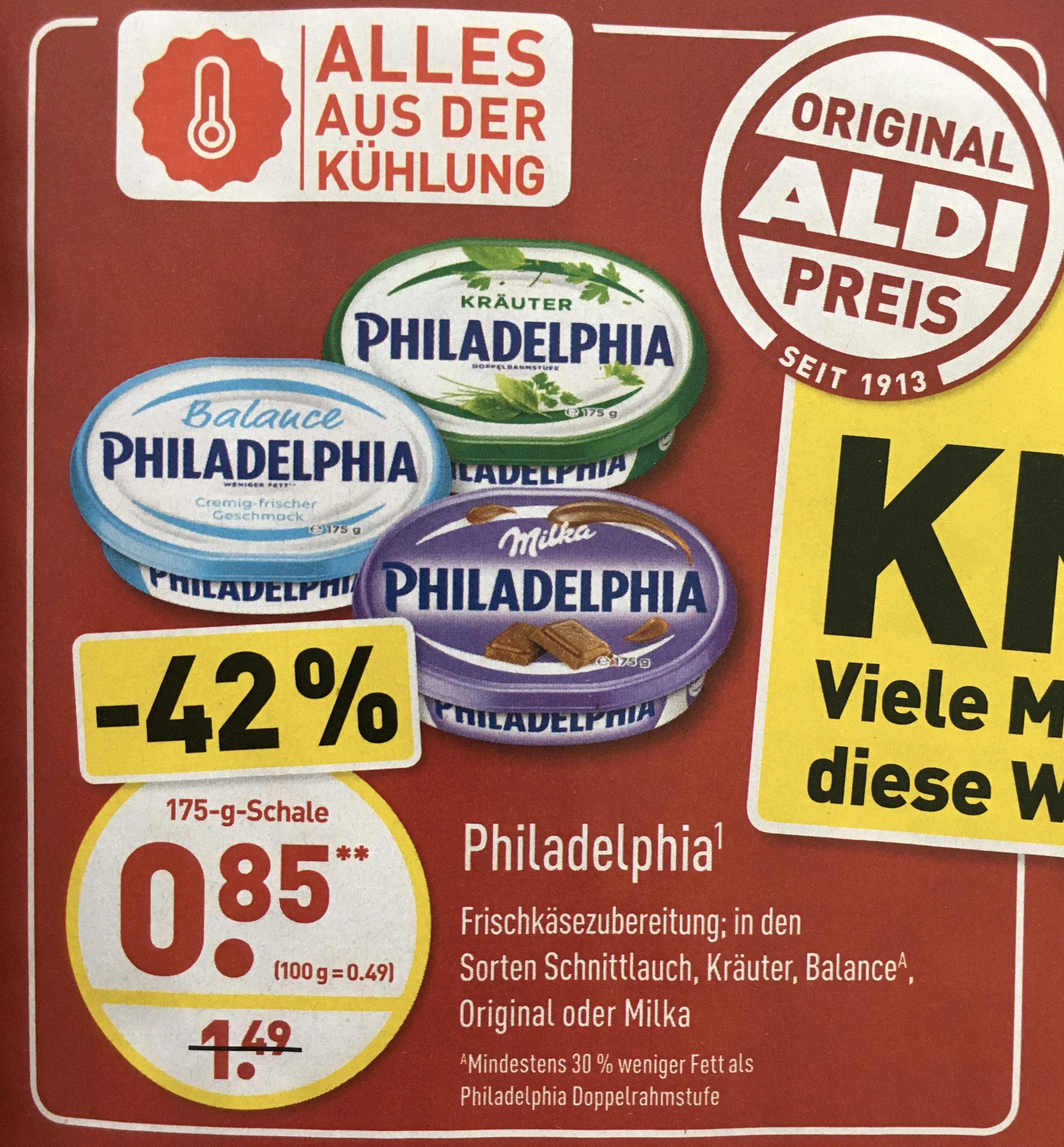 Philadelphia Frischkäse für 0,85€ ab 02.06. [ALDI-NORD]