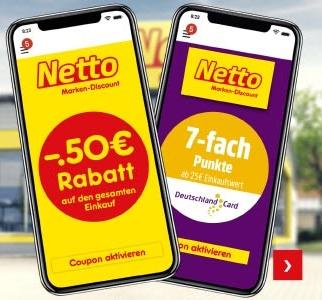[Netto Marken-Discount] 0,50€ Rabatt auf jeden Einkauf und 7-fache Punkte ab 25€ in der Netto App (oder 7-fache Punkte ohne MEW mit Coupon)