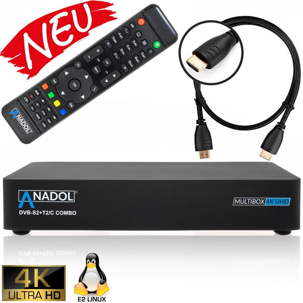 (Rakuten) Anadol Multibox 4K UHD E2 Linux & Android Combo Sat- Kabel- DVB-T2 Receiver, DVB-S2 & DVB-C/T2 Tuner, HDTV, 2160p, H.265, PVR, HDR