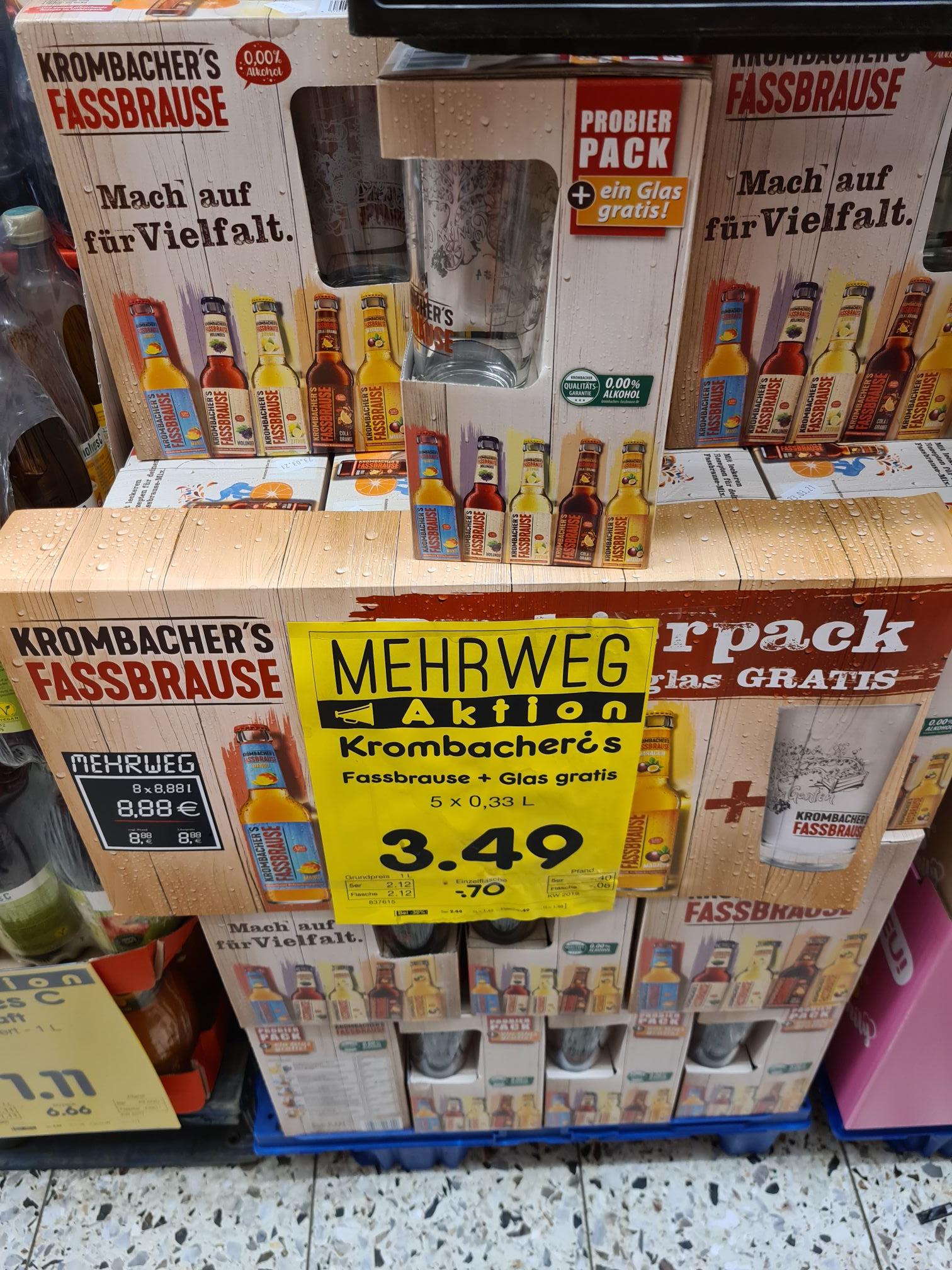 Krombacher Fassbrause 5x 0.33ml + Glas Gratis bei Netto