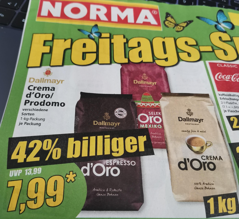 Norma: DALLMAYR Crema d'Oro / Espresso / Mexico Selektion für 7,99 Eur