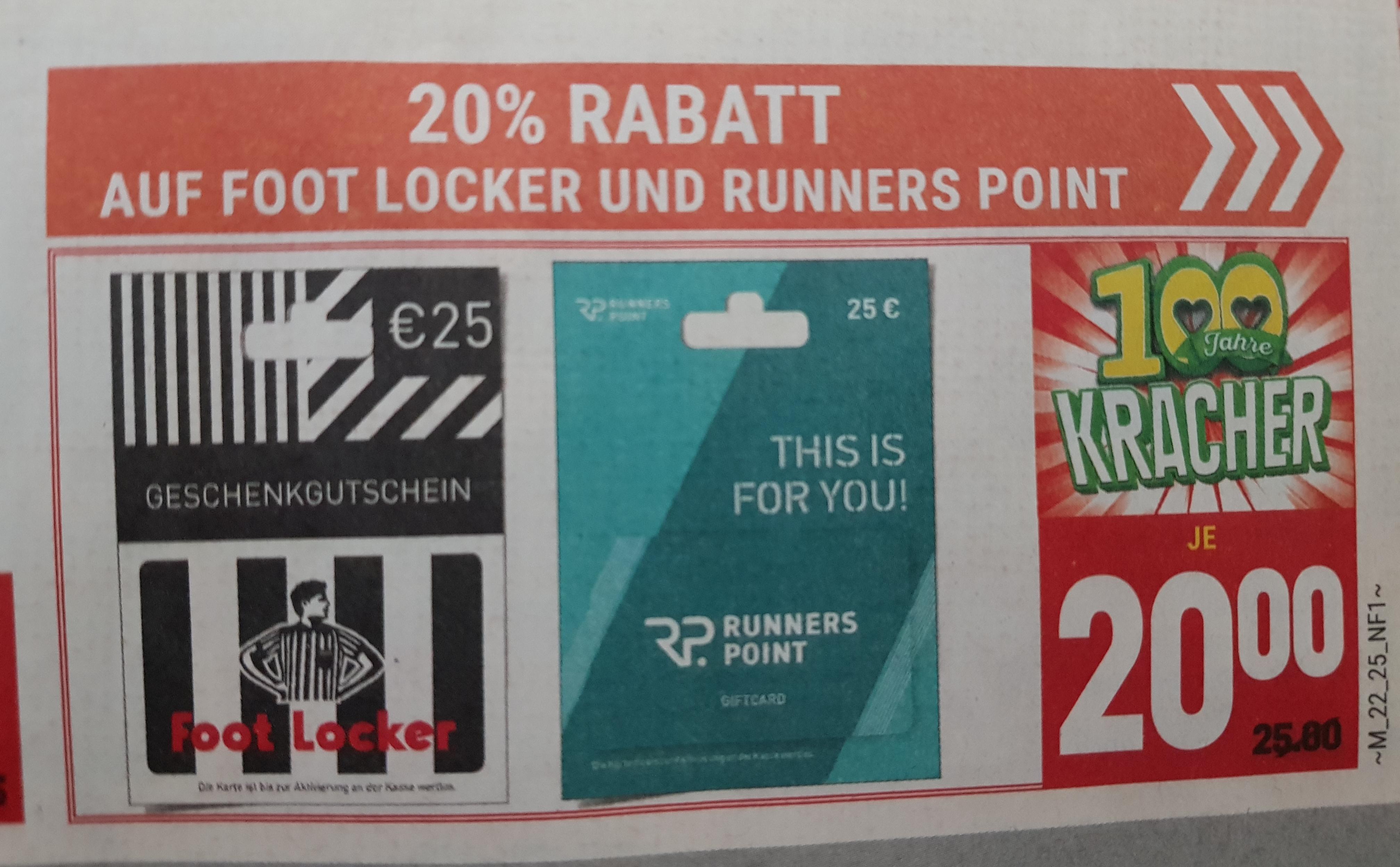 Lokal Marktkauf Bad Salzuflen, E-Center Herford - 20% RABATT AUF FOOT LOCKER UND RUNNERS POINT GUTSCHEINE