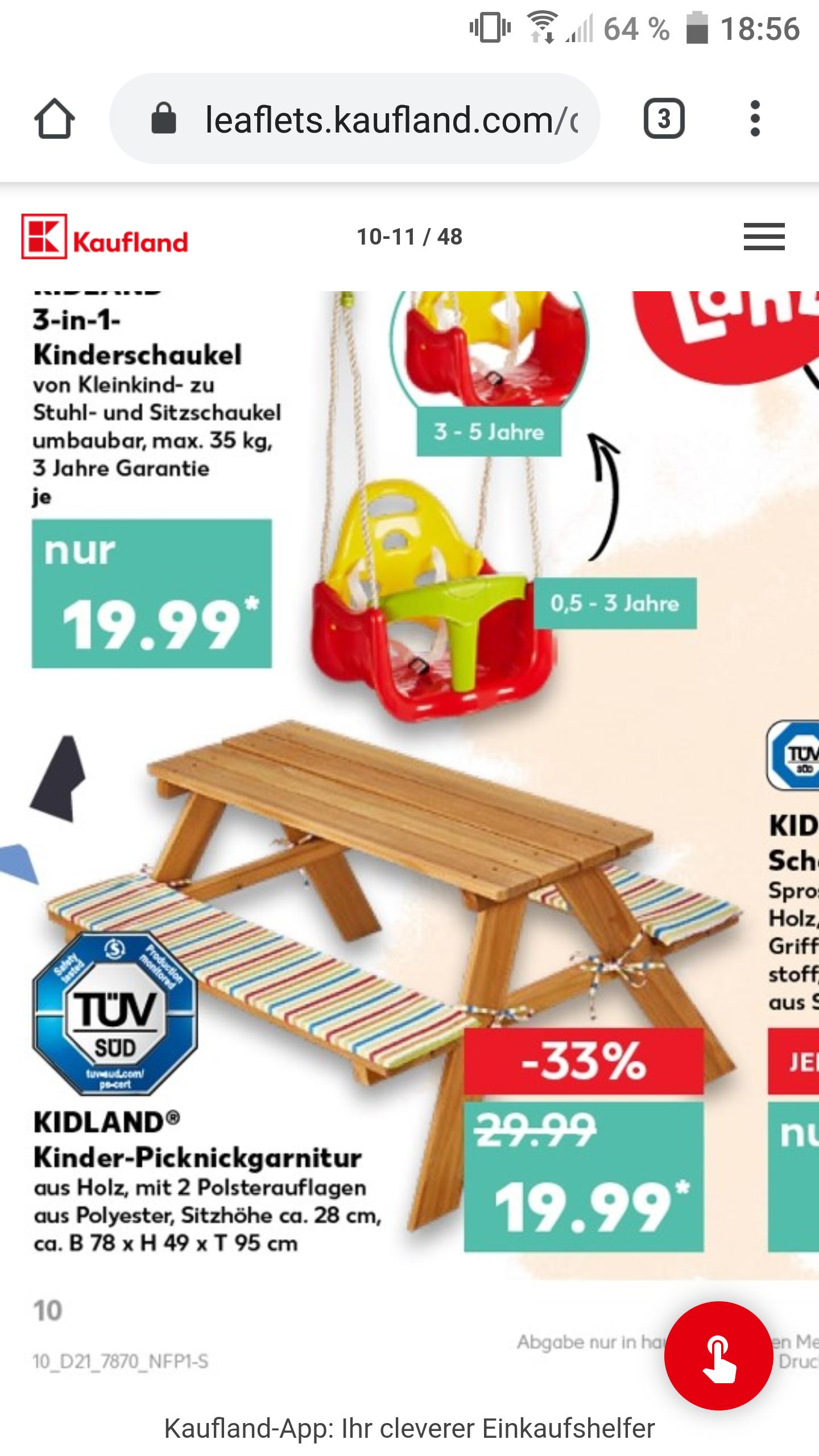 Kaufland Kindertischgarnitur Picknickgarnitur mit 2 Polsterauflagen
