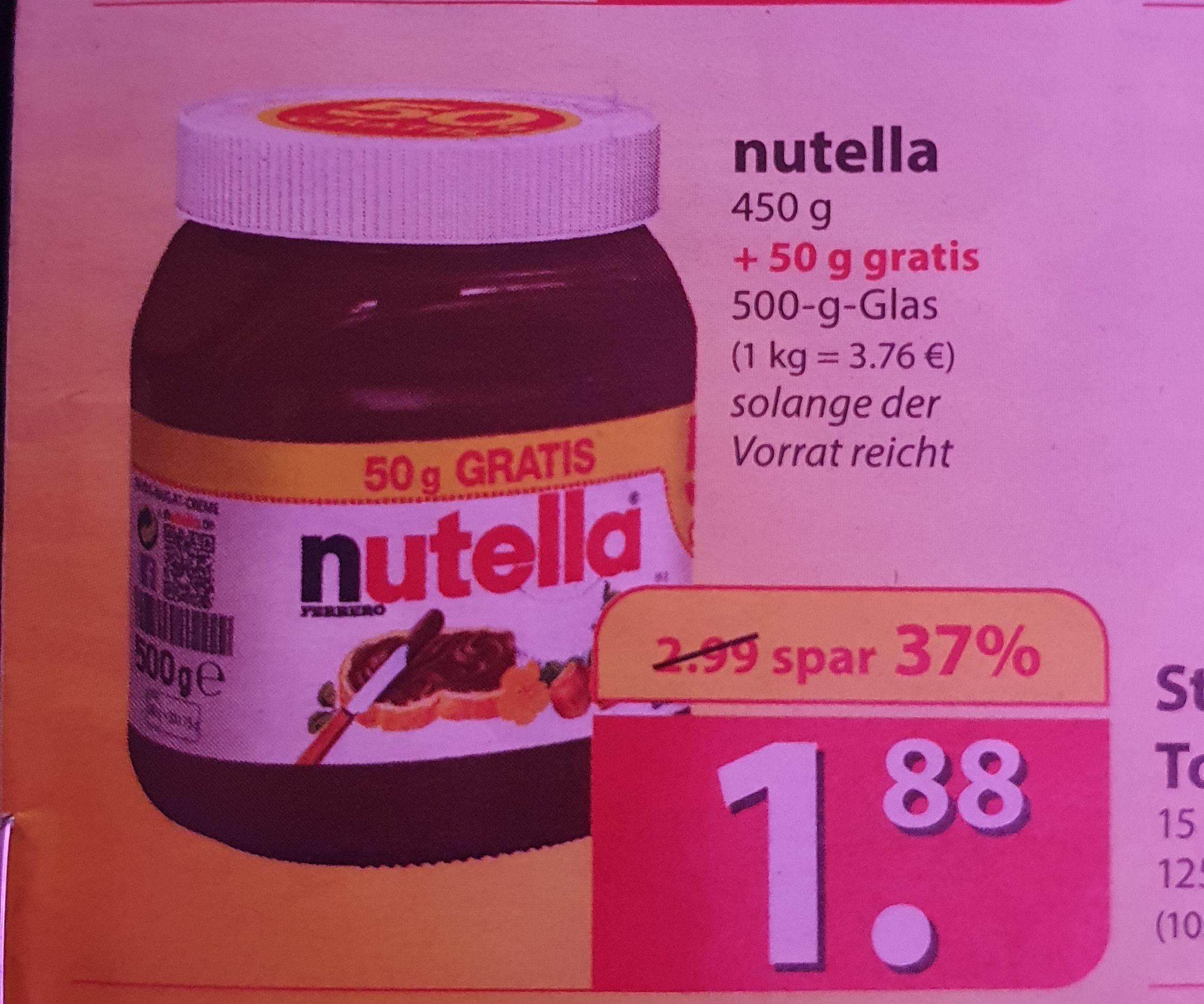 Famila ab 25.5. Nutella 500g für 1,88€