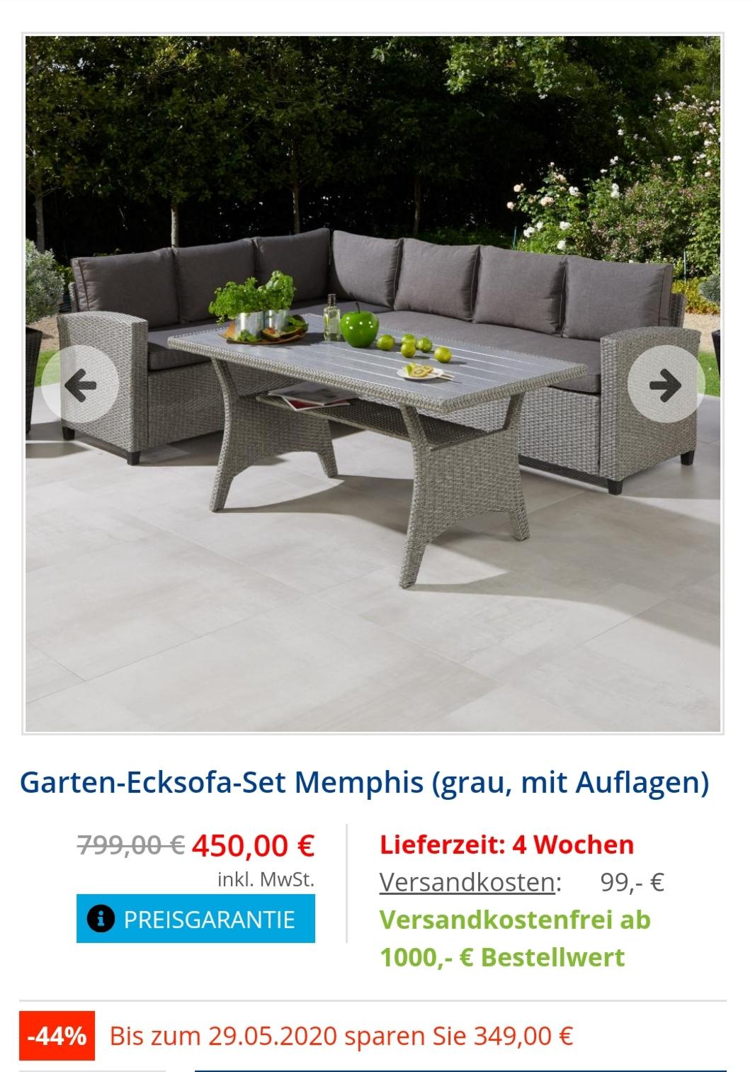Dänisches Bettenlager Garten Ecksofa Set mit Auflagen um 44% reduziert. Mit KPGB3C Rabattcode nochmal 20 Euro Direktabzug. Payback 7fach