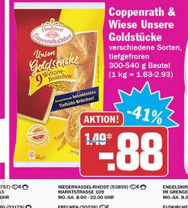 HIT / Coppenrath & Wiese Brötchen Goldstücke 0,88 Euro / Real für 0,99 Euro