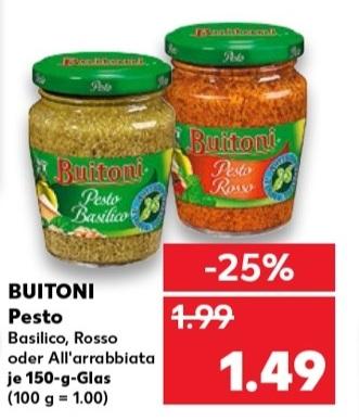 [Kaufland] Buitoni Pesto Basilico, Rosso, All'arrabbiata 0,99€ mit Cashback Marktguru