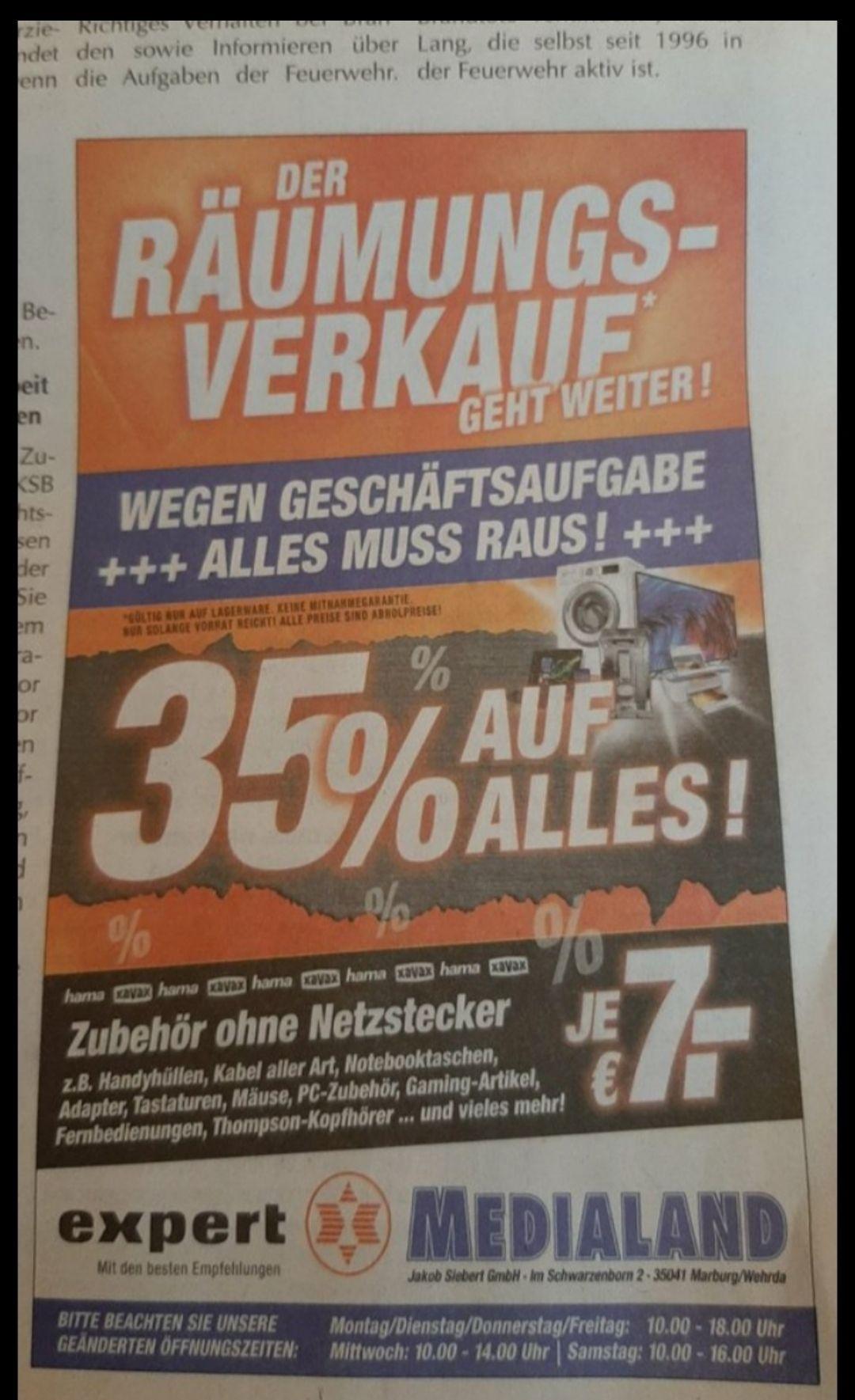 [Lokal Marburg] Expert MediaLand Räumungsverkauf - 35% auf alles