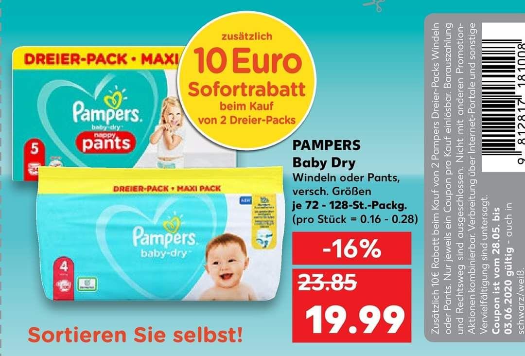 [Kaufland] Pampers Baby Dry Dreier-Pack, 10€ Rabatt bei Kauf von 2 Stück