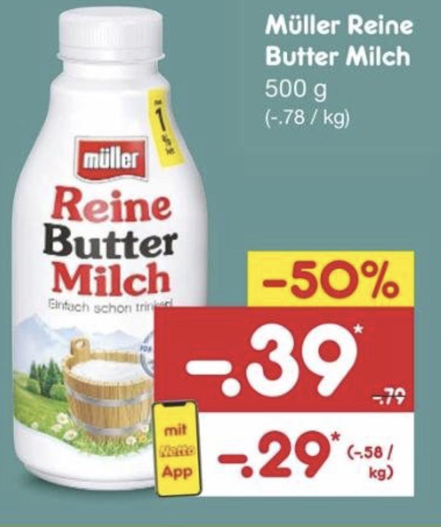 [Netto Marken-Discount] Müller Reine Buttermilch 500g mit Netto-App (2 Flaschen/Becher für 8 Cent möglich!)
