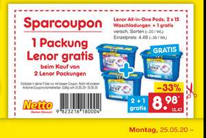 Netto -Lenor All-in-One Pods, 2 x 15 Waschladungen + 1 gratis (LOKAL?)