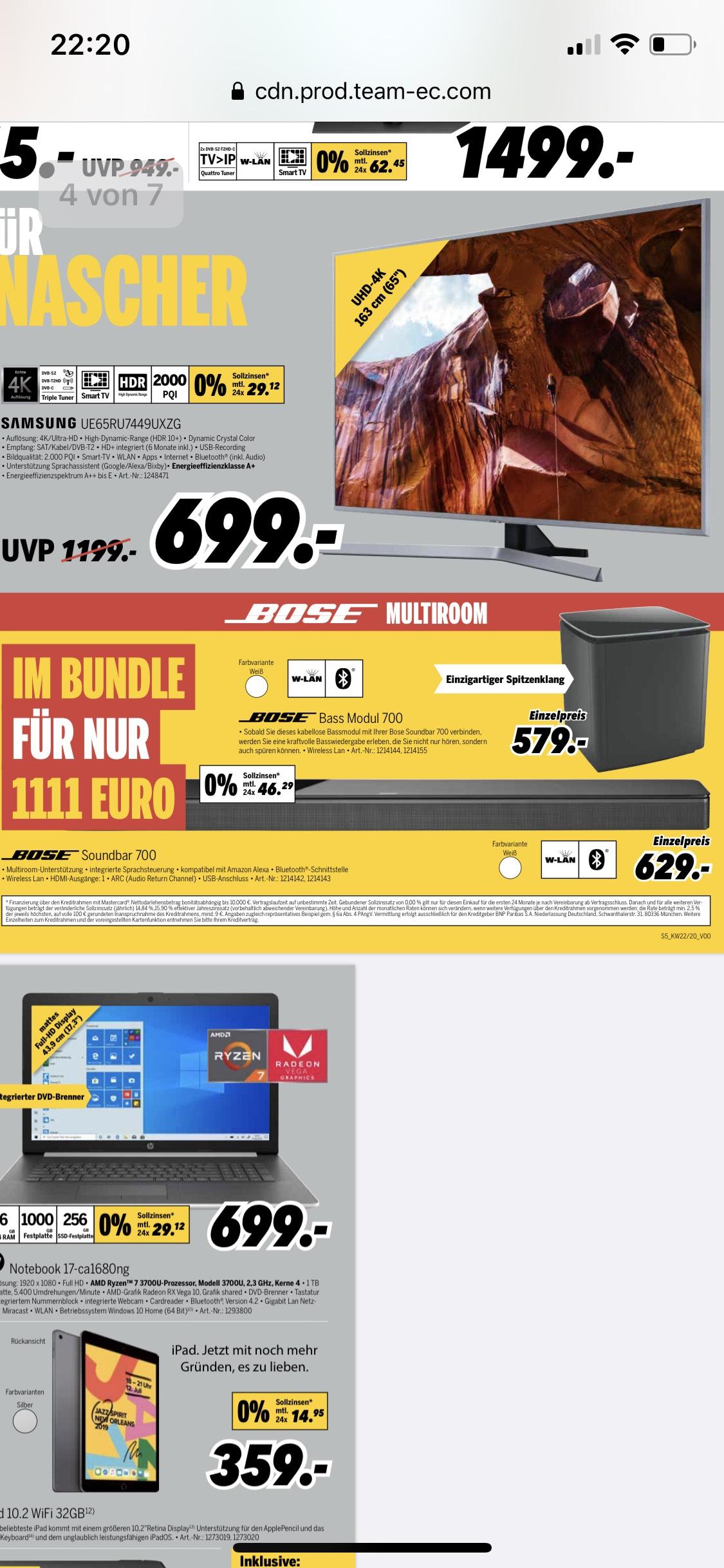 lokal / ausgewählte Märkte - Bose Soundbar 700 + Bose Bassmodule 700