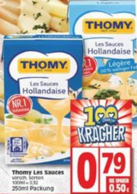 Edeka Thomy Sauce Hollandaise im Angebot für 0,79 Euro. Reebate gibt noch 0,40 Euro Cashback. Effektiv 0,39 Euro.