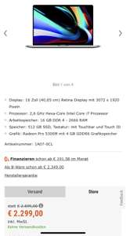 Cyberport: MacBook Pro 16 für 2259€ (bei Abholung) oder 2306€ bei Lieferung in Space Grau