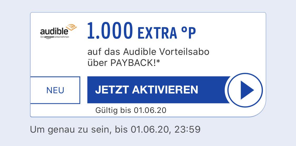 [Payback] 1000 Extra-Punkte für das Audible Vorteilsabo