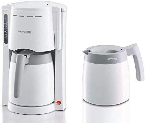 SEVERIN Kaffeemaschine, Für gemahlenen Filterkaffee, 8 Tassen, Inkl. 2 Thermokannen, KA 9233, Weiß [Amazon Prime]