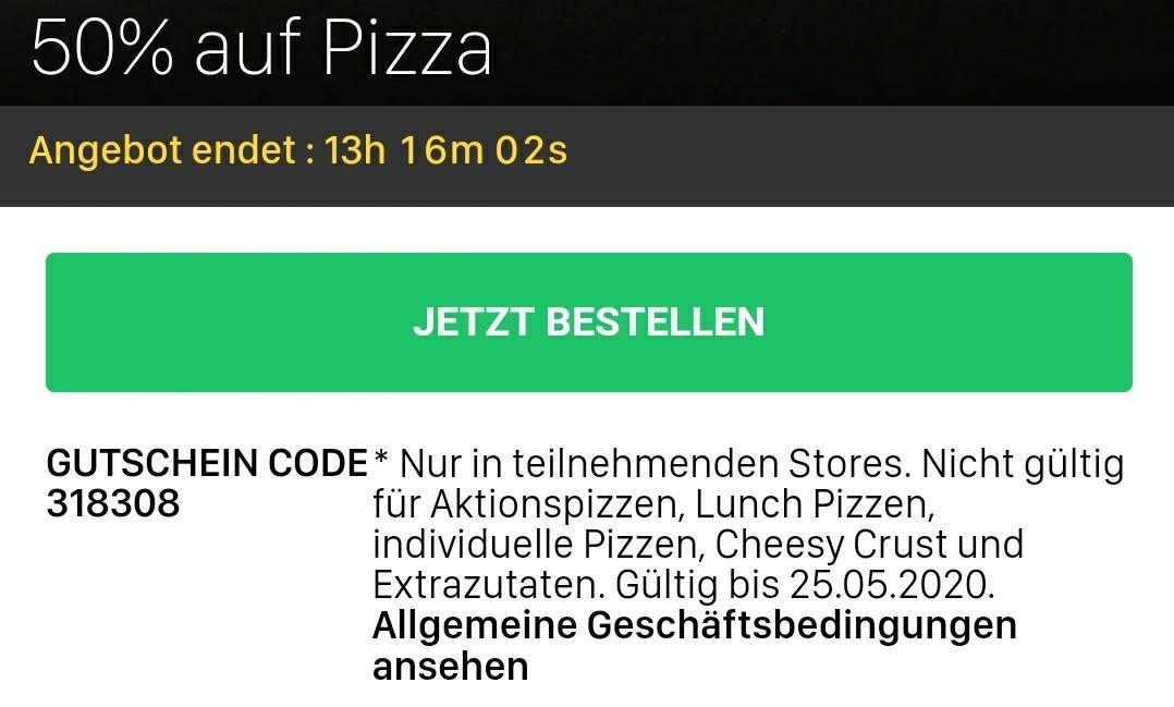Dominos - 50 Prozent bei Abholung auf Pizza