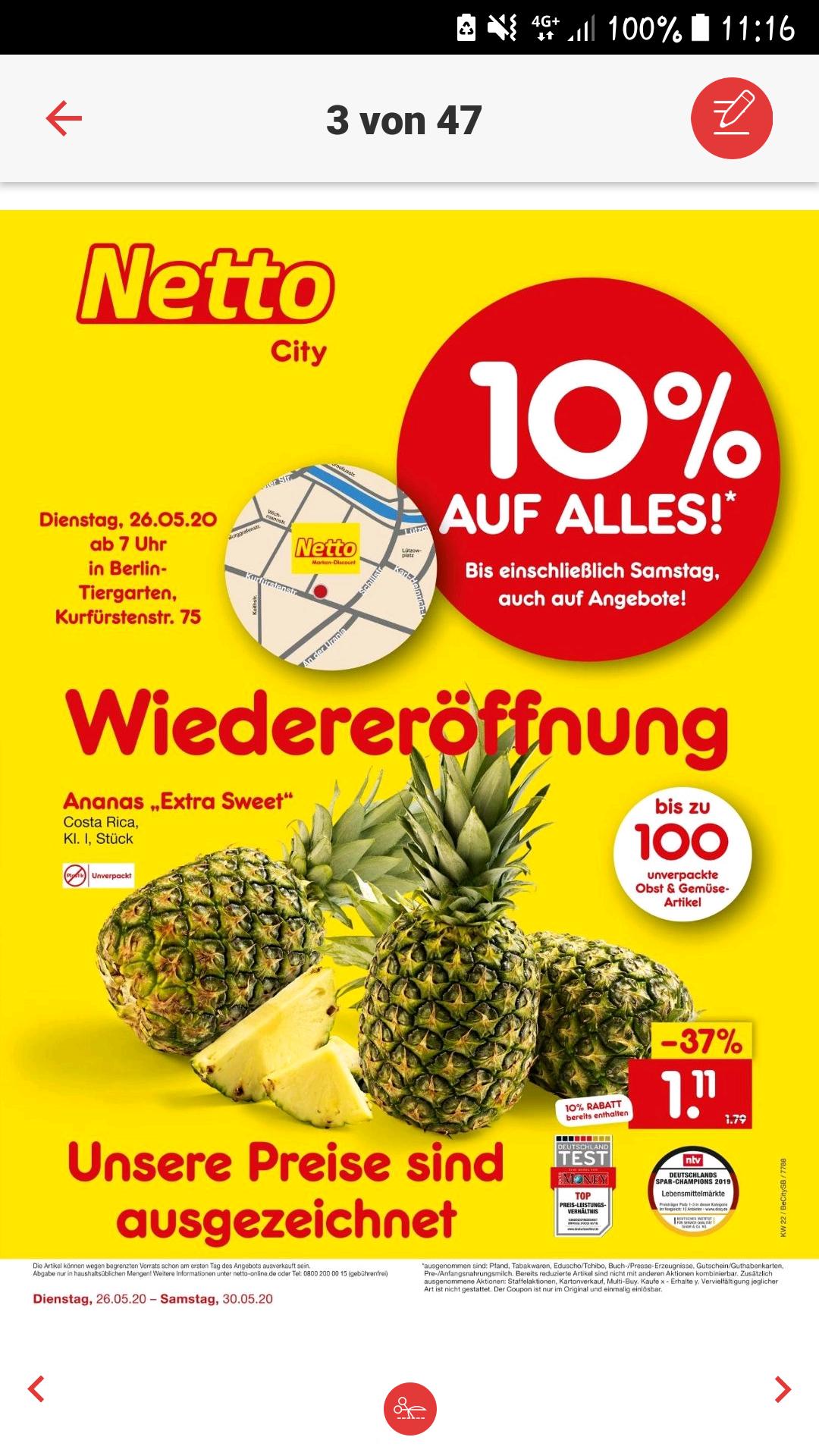 (Lokal Berlin Tiergarten) Netto Marken-Discount Wiedereröffnung 10% auf alles