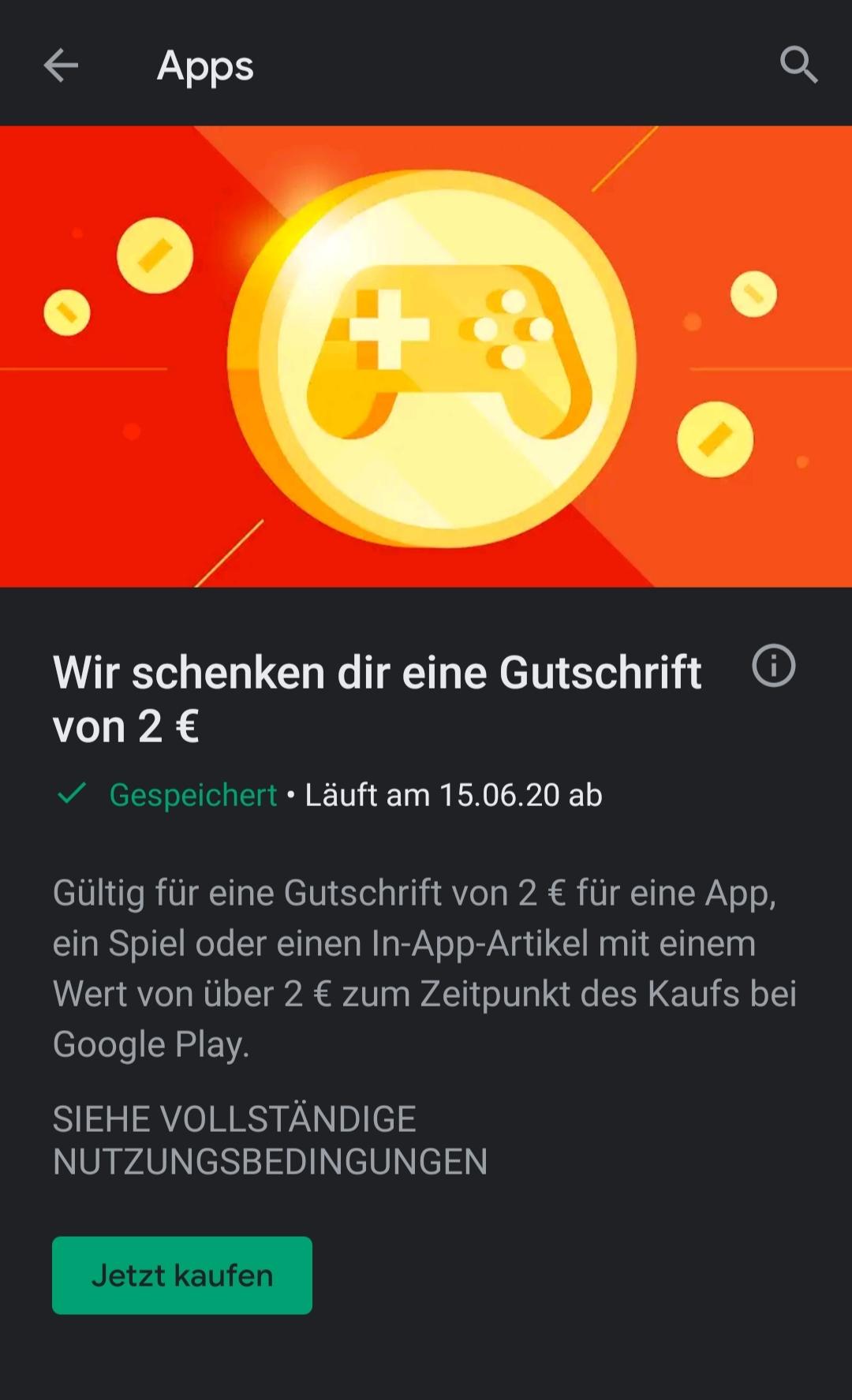 [Google Play Store] 2 Euro Guthaben für Kauf einer App (mglw. personalisiert)