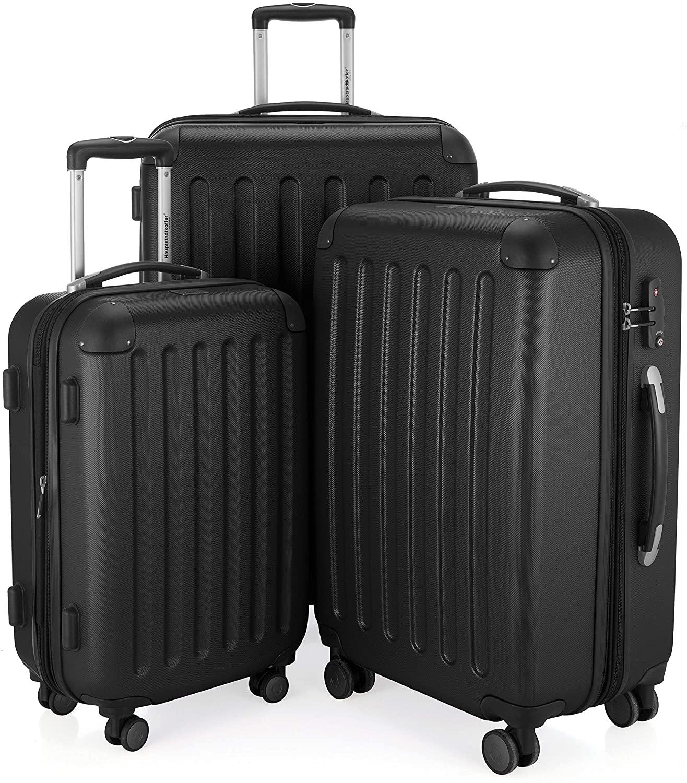 HAUPTSTADTKOFFER - Spree - 3er Koffer-Set Trolley-Set Reisekoffer Erweiterbar, TSA, 4 Rollen, (S, M & L), Schwarz