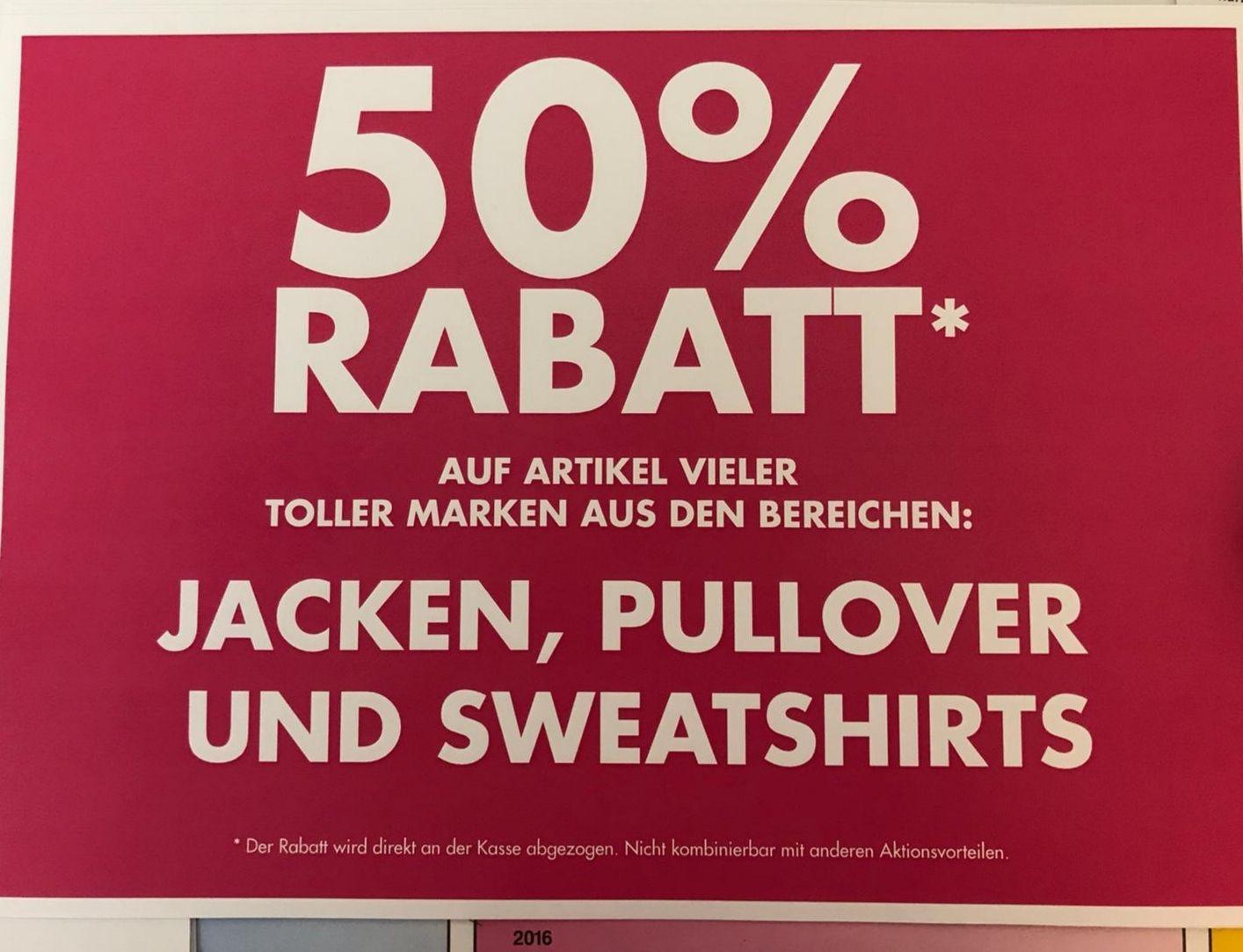 Galeria offline 50% auf Jacken Pullover Sweatshirts auch auf Sale