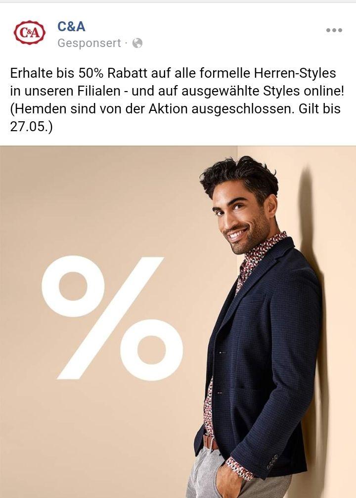 C&A - 50% auf formelle Herren-Styles