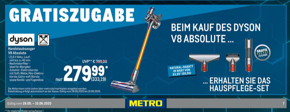 Dyson V8 Absolute Kabelloser Staubsauger Nickel/Anthrazit/Gelb + Hauspflege-Set
