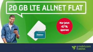 20 GB LTE Allnet Flat für nur 15,99€ - monatlich kündbar! + 9,99€ Anschlusspreis mobilcom-debitel Green LTE 20 GB
