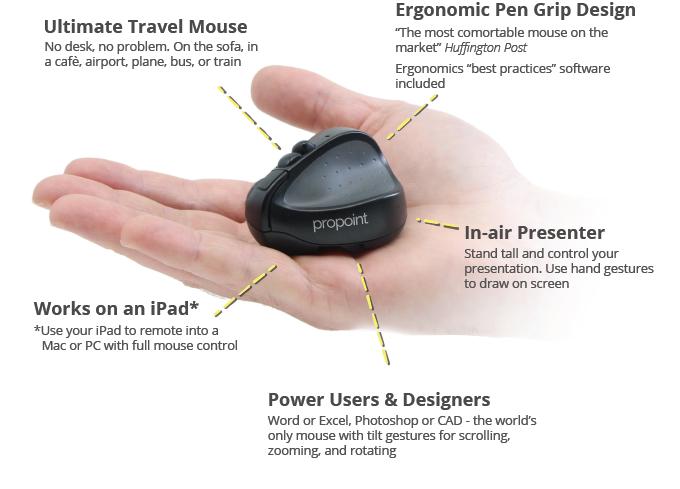 40% off - Swiftpoint PROPOINT (3rd Gen) kabellose ergonomische Mobile Maus für wirklich natürliche Touch-Handbewegungen