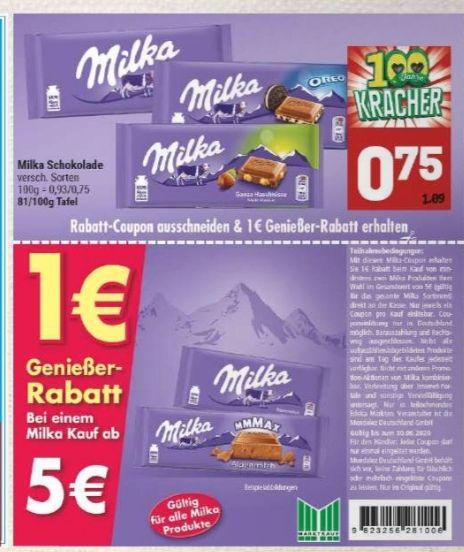 [Marktkauf Minden-Hannover] 7x Milka Schokoladen Tafel mit Coupon für 4,25€ [Stückpreis ~0,61€]