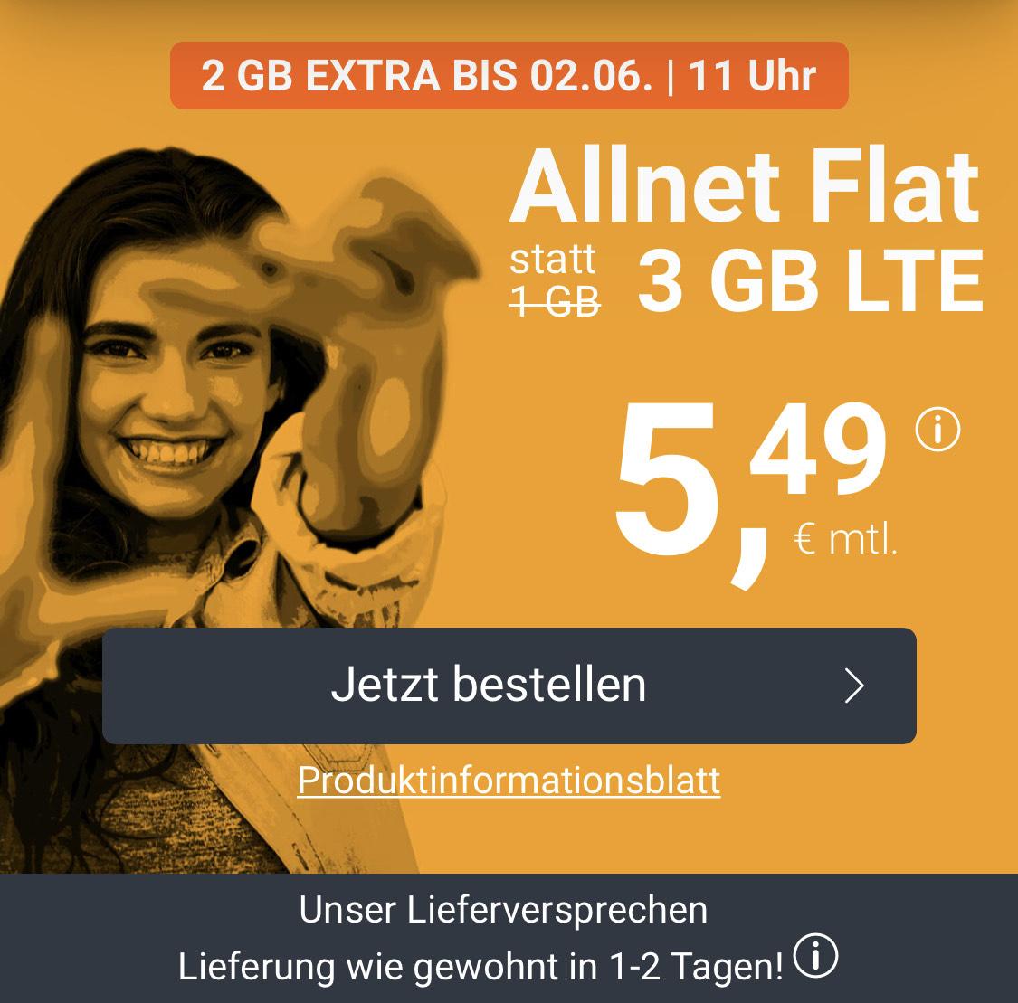 WinSim 3GB + Flat Telefonie und SMS 5,49€/mtl. Telefonica