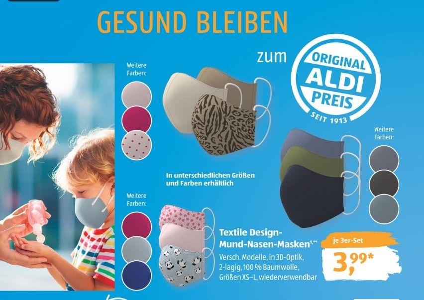 Wiederverwendbare Textile Design Masken 3er Set 3,99€ + Hygieneartikeln ab 0,99€
