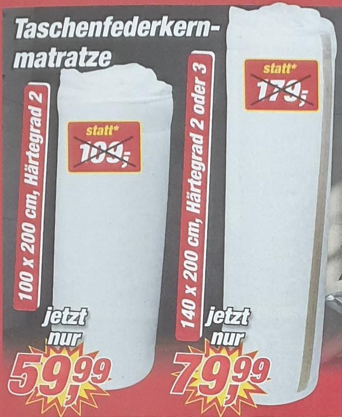 [Posten Börse Bielefeld] Meradiso Taschenfederkern und Kaltschaum Matratze 100x200 für 59,99€, 140x200 für 79,99€