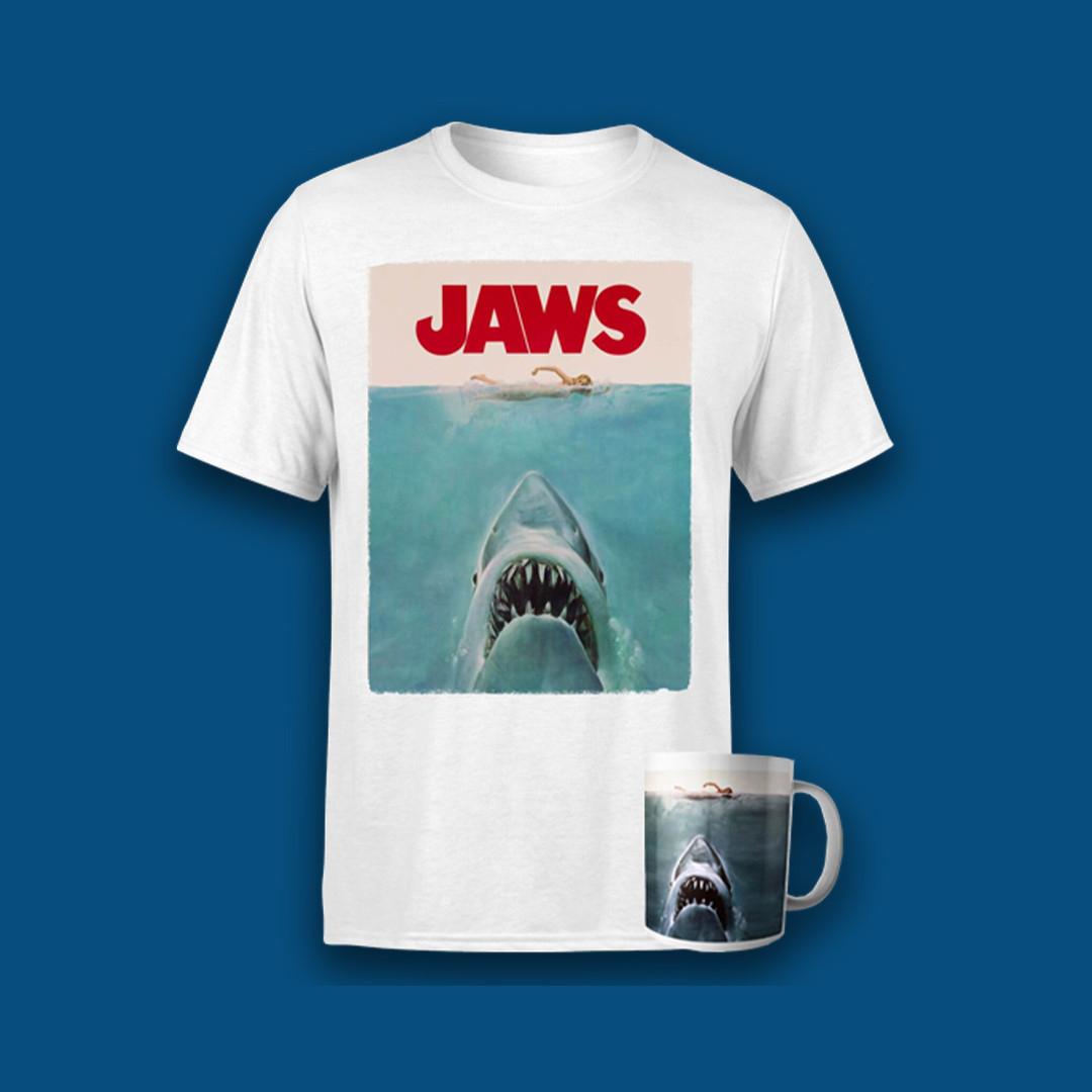 JAWS Bundle: T-Shirt & Tasse für 9,99€ + 1,49€ Versand (5 Varianten, S bis XXL)