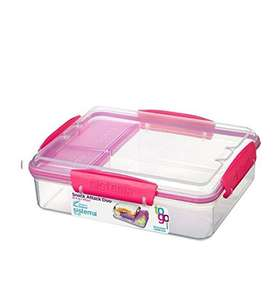 Sistema Lunch Snack Attack Duo 'to go' Lunchbox - 975 ml transparent/pink oder transparent/blau (Amazon Prime)