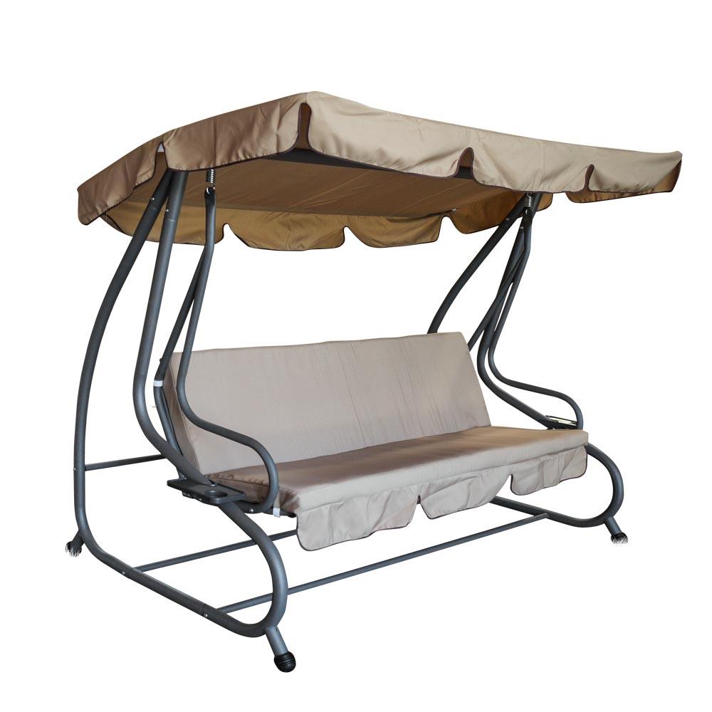 Hollywoodschaukel 4-Sitzer Miami 232 x 120 x 164 cm in grau/creme - Sonderpreis Baumarkt