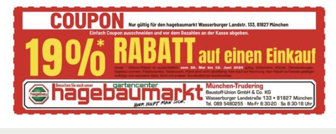 [Lokal München] Echte 19% Rabatt auf einen Einkauf im Hagebaumarkt München-Trudering