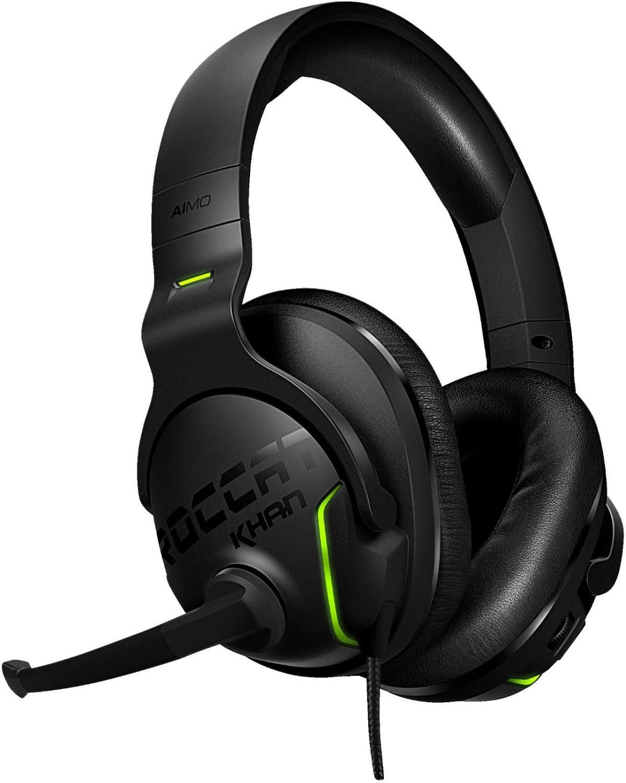 Headset Roccat Khan AIMO (Over-Ear, USB, Surround-Simulation, klappbares Mikrofonarm, Lautstärkeregler, RGB-Elemente, 2.45m Kabel, 275g)