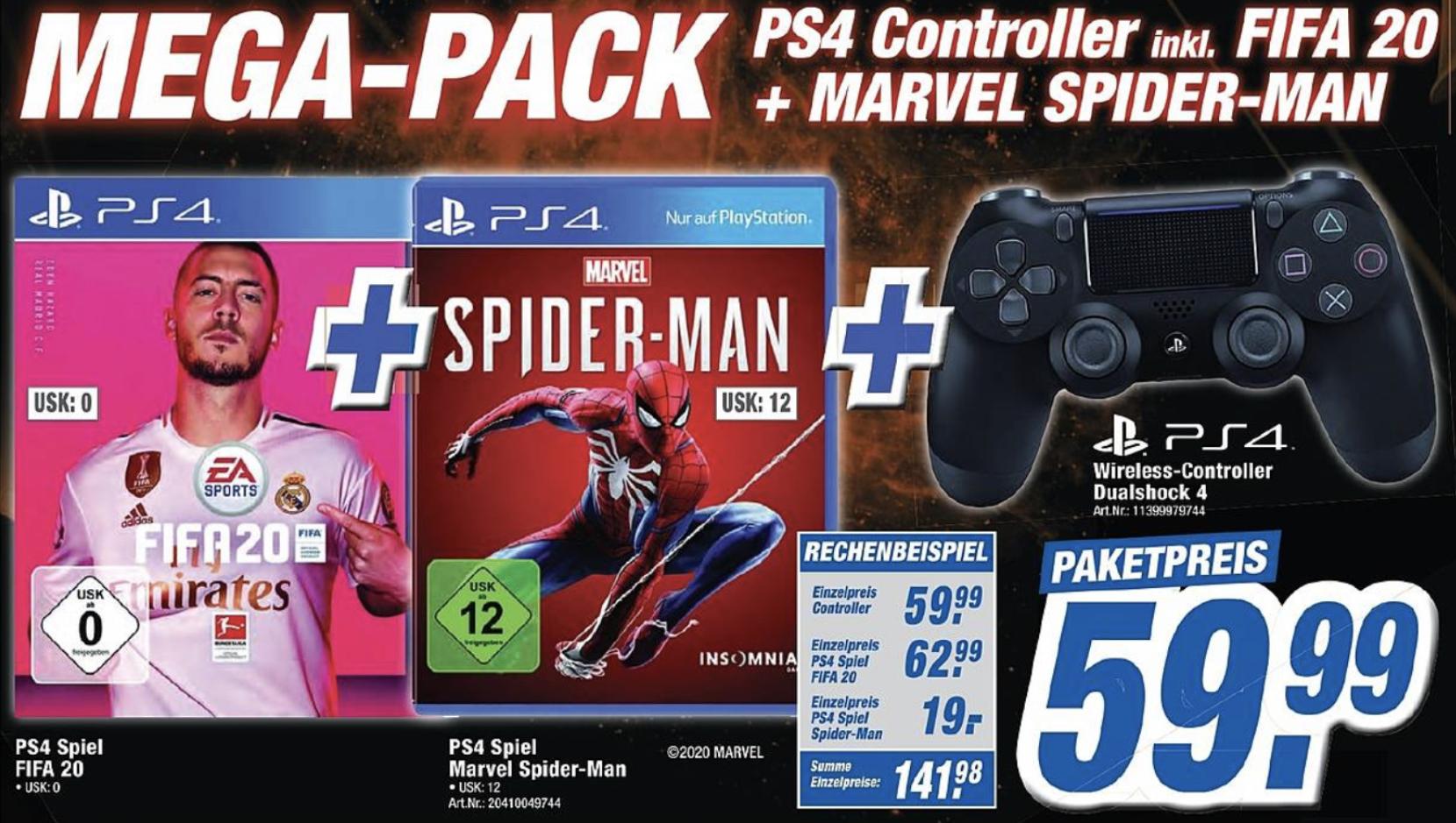 Lokal K+B Expert: Sony Dualshock 4 Controller + Spiderman + FiFA 20 für zusammen 59,99€