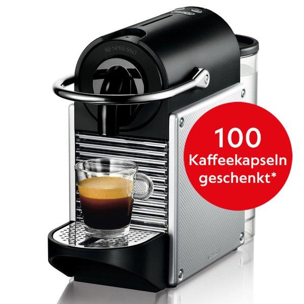 [check24] DeLonghi EN124.S Nespresso Pixie Kaffeekapselmaschine Kaffeemaschine zu 69,90€ inkl. 100 Kapseln
