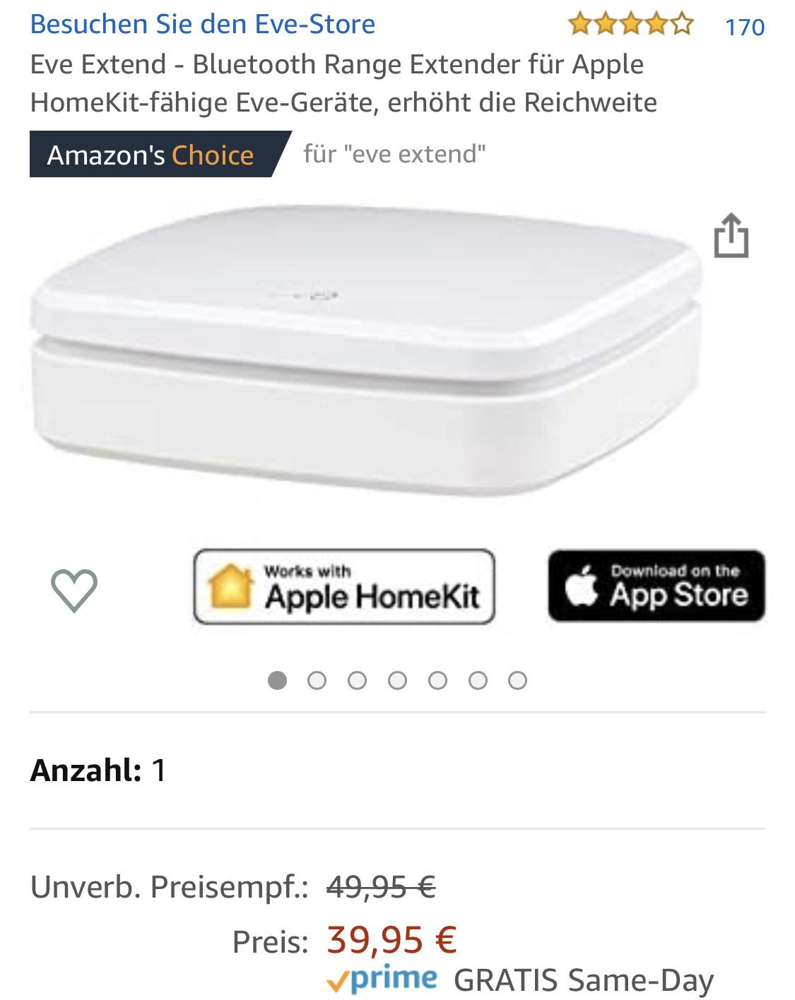 [Prime] - Eve Extend - Bluetooth Range Extender für Apple HomeKit-fähige Eve-Geräte